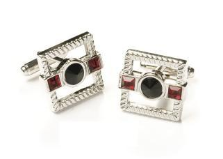 Square Silver Cufflinks with Black and Red Crystals-Men's Cufflinks-ABC Fashion