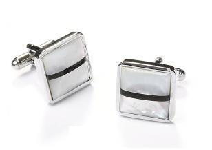 Square Silver Cufflinks with Black and White Stripes-Men's Cufflinks-ABC Fashion