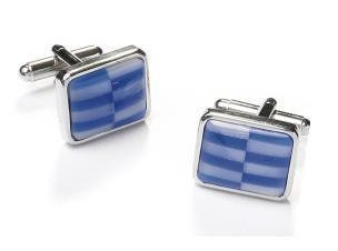 Square Silver Cufflinks with Blue and White Checkers-Men's Cufflinks-ABC Fashion