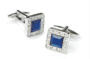 Square Silver Cufflinks with Blue Gem and Clear Crystals-Men's Cufflinks-ABC Fashion