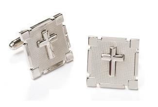 Square Silver Cufflinks with Cross-Men's Cufflinks-ABC Fashion