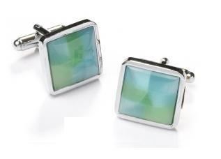 Square Silver Cufflinks with Green and Blue Stone-Men's Cufflinks-ABC Fashion