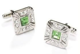 Square Silver Cufflinks with Green and Clear Crystals-Men's Cufflinks-ABC Fashion