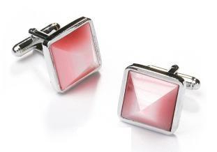 Square Silver Cufflinks with Pink Stone-Men's Cufflinks-ABC Fashion