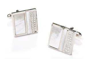Square Silver Cufflinks with Plated Metal and Crystals-Men's Cufflinks-ABC Fashion