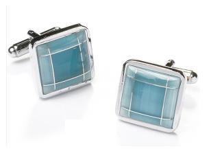 Square Silver Cufflinks with Sky Blue Stone-Men's Cufflinks-ABC Fashion