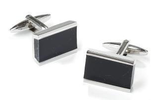 Stainless Steel Rectangle Cufflinks with Black Slate-Men's Cufflinks-ABC Fashion