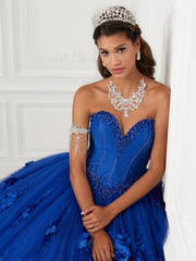 Strapless 3D Floral Tulle Quinceanera Dress by House of Wu 26950-Quinceanera Dresses-ABC Fashion