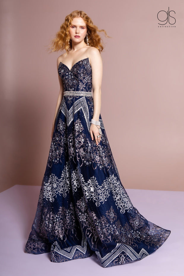 Strapless A-line Glitter Print Gown by GLS Gloria GL2649-Long Formal Dresses-ABC Fashion