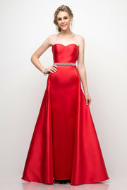 Strapless A-line Gown with Corset Back by Cinderella Divine UT253-Long Formal Dresses-ABC Fashion