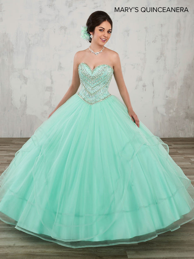 Strapless A-Line Quinceanera Dress by Mary's Bridal M4Q1003-Quinceanera Dresses-ABC Fashion