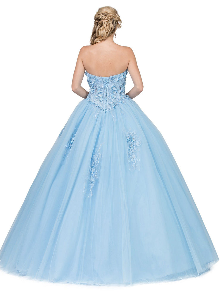 Strapless Ball Gown with 3D Floral Appliques by Dancing Queen 1296