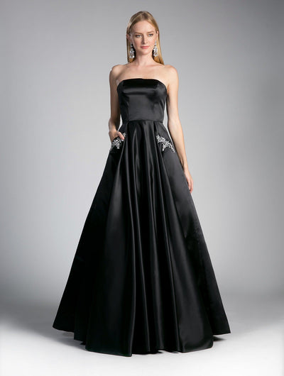 Strapless Ball Gown with Beaded Pockets by Cinderella Divine CA304-Long Formal Dresses-ABC Fashion