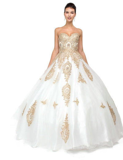 Strapless Ball Gown with Gold Appliques by Dancing Queen 1105-Quinceanera Dresses-ABC Fashion