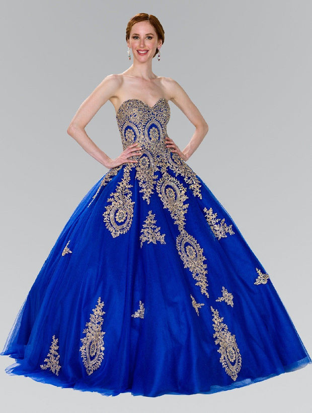 Strapless Ballgown with Gold Lace Applique by Elizabeth K GL2379-Quinceanera Dresses-ABC Fashion