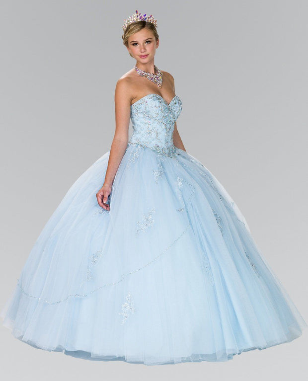 Strapless Beaded Ballgown with Bolero by Elizabeth K GL2427-Quinceanera Dresses-ABC Fashion