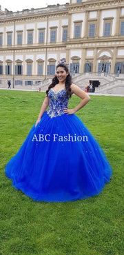 Strapless Beaded Dress by House of Wu Fiesta Gowns Style 56281-Quinceanera Dresses-ABC Fashion