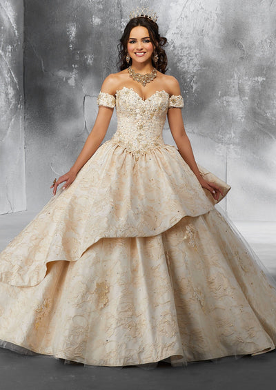 Strapless Brocade Quinceanera Dress by Mori Lee Vizcaya 89193-Quinceanera Dresses-ABC Fashion