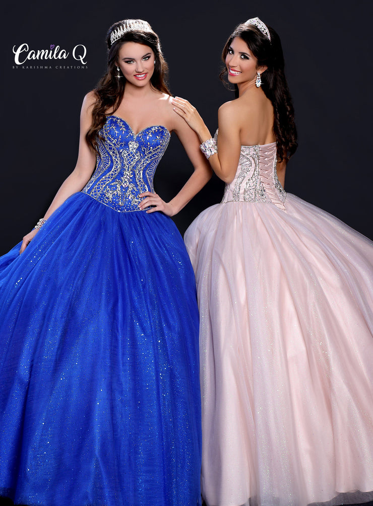 Strapless Embellished Glitter Quinceanera Dress by Camila Q Q17111-Quinceanera Dresses-ABC Fashion