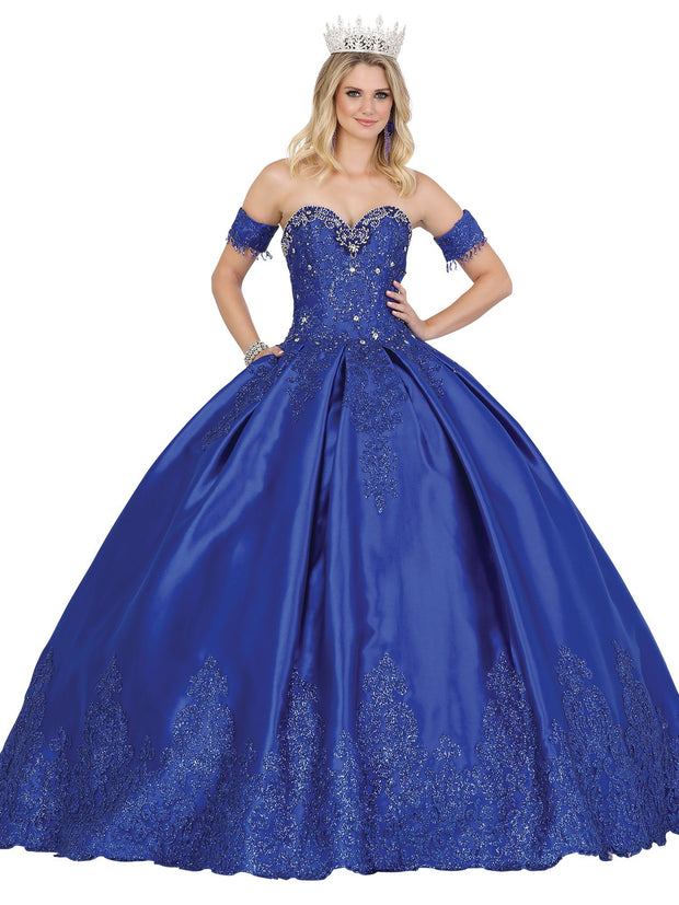 Strapless Embellished Satin Ball Gown by Dancing Queen 1493