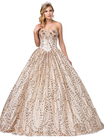 Strapless Floral Applique Glitter Ball Gown by Dancing Queen 1385