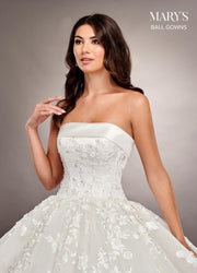 Strapless Floral Applique Wedding Dress by Mary's Bridal MB6062-Wedding Dresses-ABC Fashion