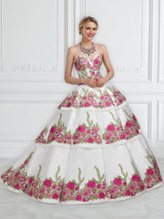 Strapless Floral Embroidered Quinceanera Dress by House of Wu 26952-Quinceanera Dresses-ABC Fashion