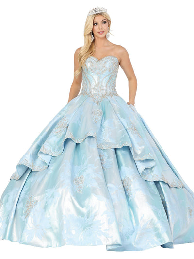 Strapless Floral Print Ball Gown by Dancing Queen 1459