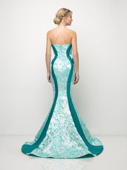 Strapless Floral Print Mermaid Dress by Cinderella Divine US001-Long Formal Dresses-ABC Fashion
