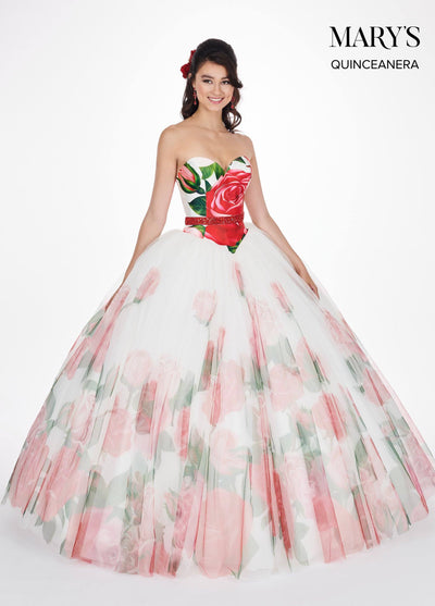 Strapless Floral Print Quinceanera Dress by Mary's Bridal MQ1030-Quinceanera Dresses-ABC Fashion