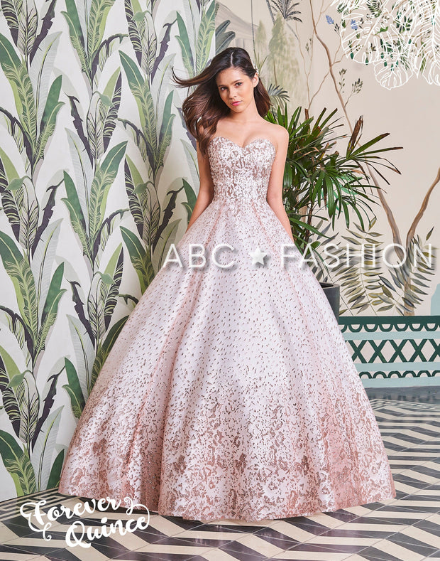 Strapless Glitter Pattern Quinceanera Dress by Forever Quince FQ793-Quinceanera Dresses-ABC Fashion