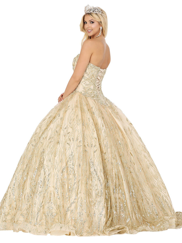 Strapless Glitter Print Ball Gown by Dancing Queen 1497