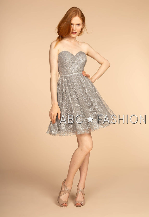 Strapless Glitter Print Short Dress by Elizabeth K GS1627-Short Cocktail Dresses-ABC Fashion