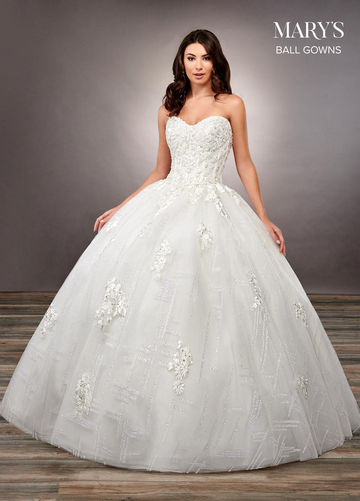 Strapless Glitter Print Wedding Dress by Mary's Bridal MB6066-Wedding Dresses-ABC Fashion