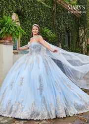 Glitter Cape Quinceanera Dress by Alta Couture MQ3059