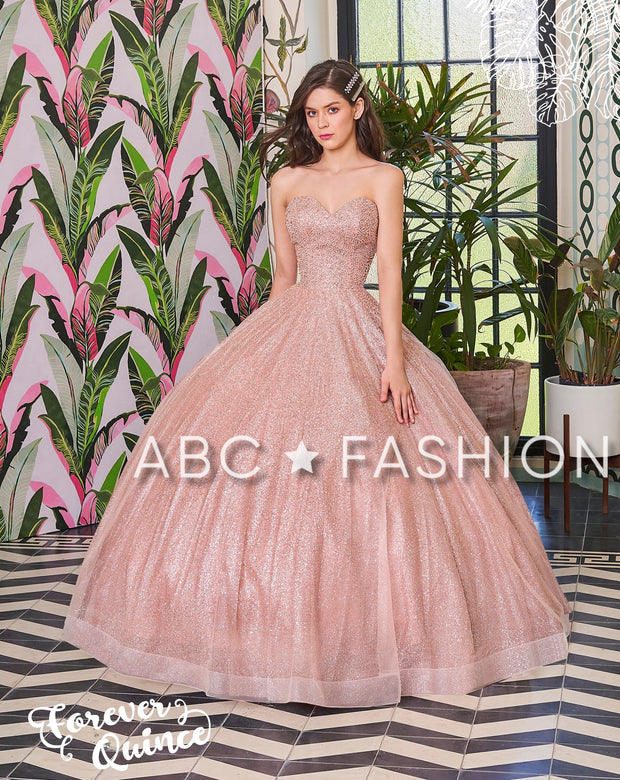 Strapless Glitter Quinceanera Dress by Forever Quince FQ794-Quinceanera Dresses-ABC Fashion