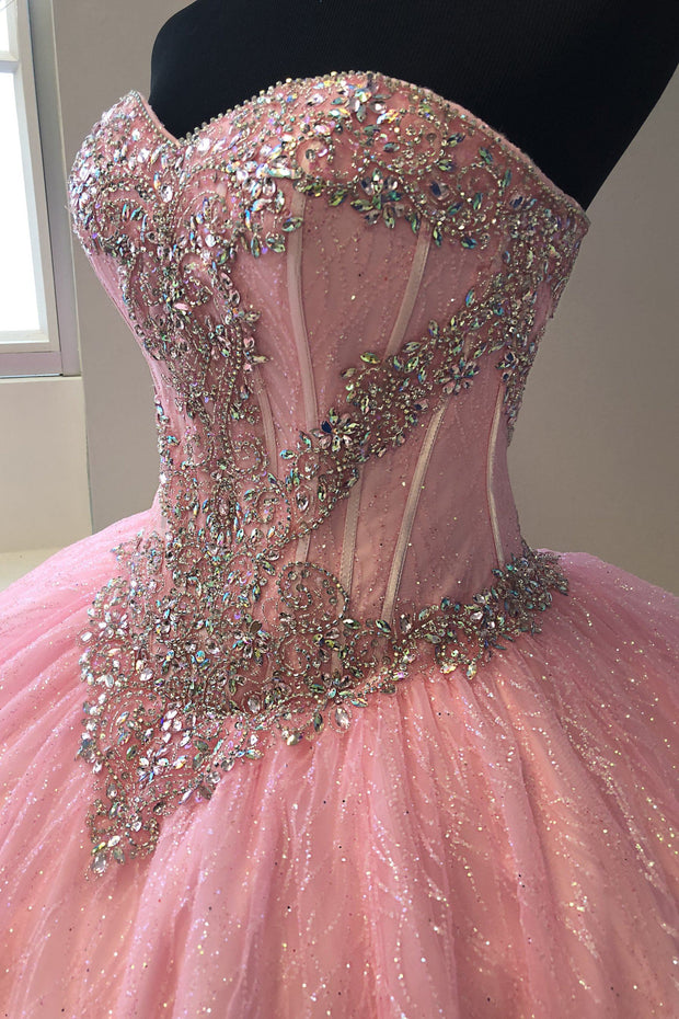 Strapless Glitter Quinceanera Dress by House of Wu 26896-Quinceanera Dresses-ABC Fashion