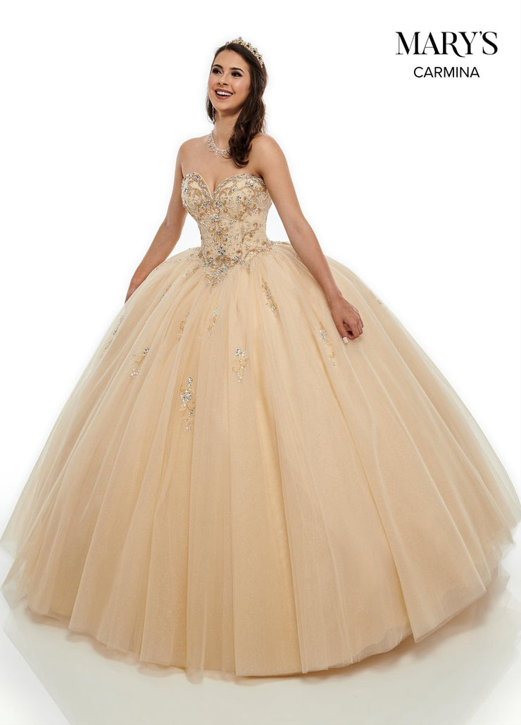 Strapless Glitter Quinceanera Dress by Mary's Bridal MQ1064-Quinceanera Dresses-ABC Fashion