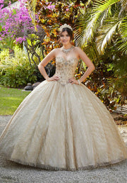 Strapless Glitter Quinceanera Dress by Mori Lee Vizcaya 89199