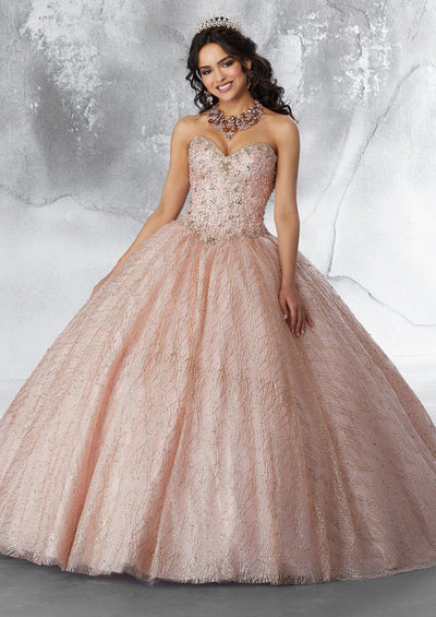 Strapless Glitter Quinceanera Dress by Mori Lee Vizcaya 89199-Quinceanera Dresses-ABC Fashion