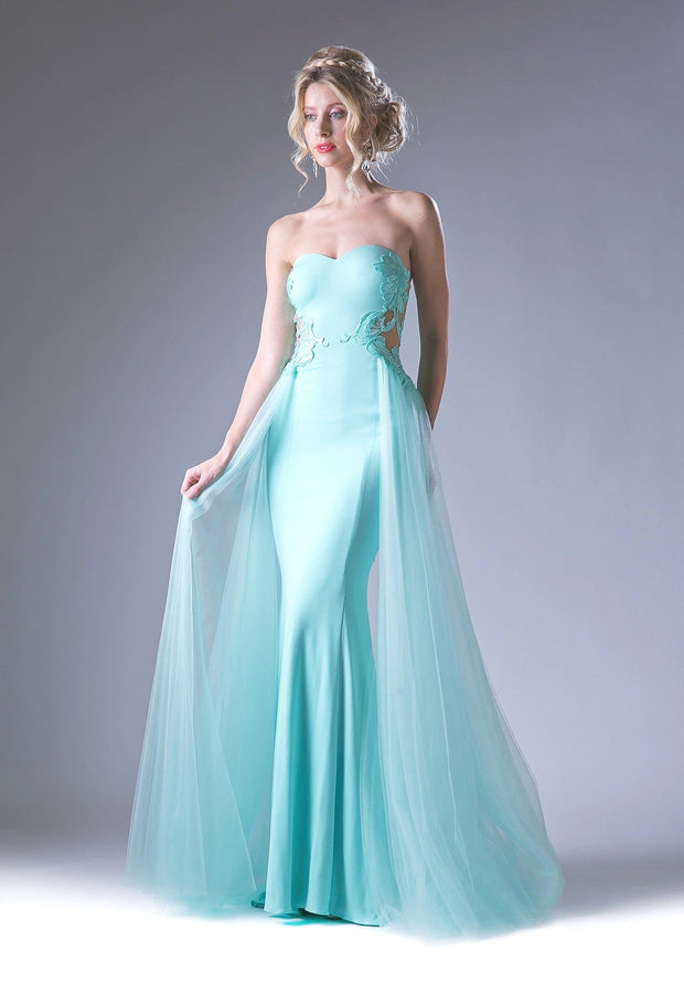 Strapless Gown with Beaded Lace Applique by Cinderella Divine 15110-Long Formal Dresses-ABC Fashion