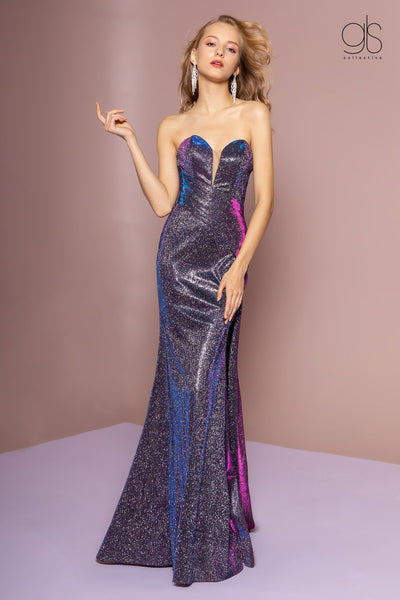 Strapless Iridescent Glitter Trumpet Dress by Elizabeth K GL2703-Long Formal Dresses-ABC Fashion