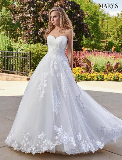 Strapless Lace Applique Wedding Dress by Mary's Bridal MB6032-Wedding Dresses-ABC Fashion