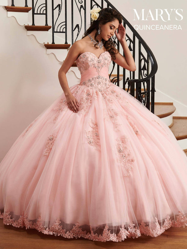 Strapless Lace Appliqued Quinceanera Dress by Mary's Bridal MQ2036-Quinceanera Dresses-ABC Fashion