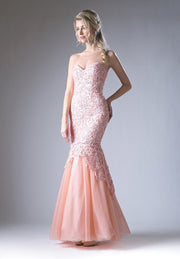 Strapless Lace Mermaid Dress by Cinderella Divine KC1701-Long Formal Dresses-ABC Fashion