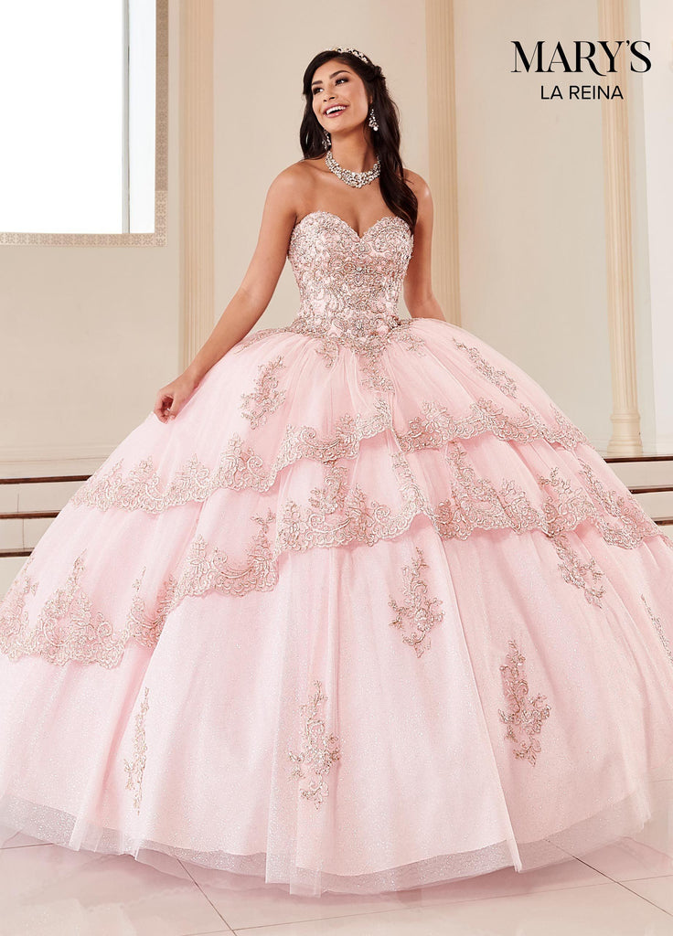 strapless light pink quinceanera dresses