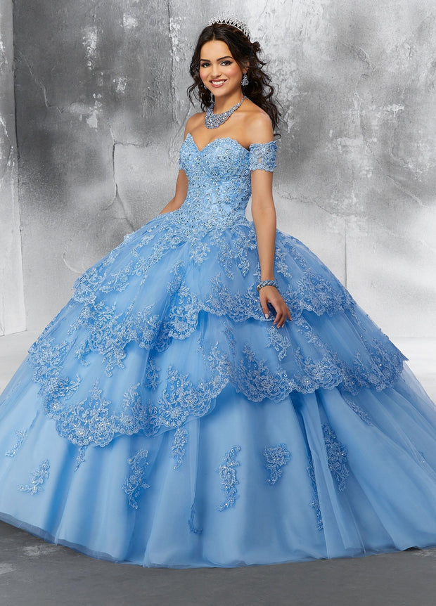 Strapless Lace Quinceanera Dress by Mori Lee Vizcaya 89190-Quinceanera Dresses-ABC Fashion