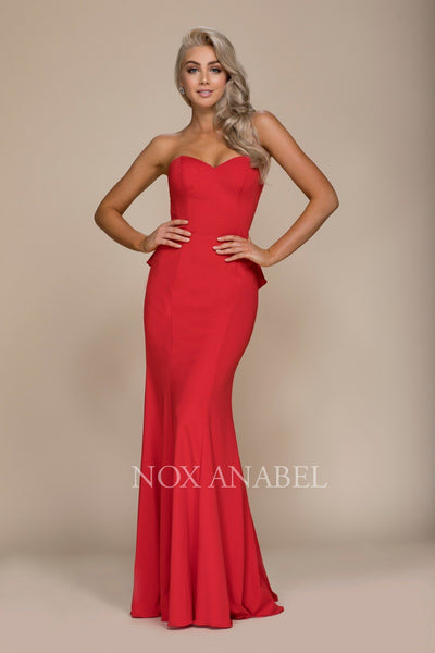 Strapless Mermaid Dress with Ruffled Detail by Nox Anabel E002-Long Formal Dresses-ABC Fashion