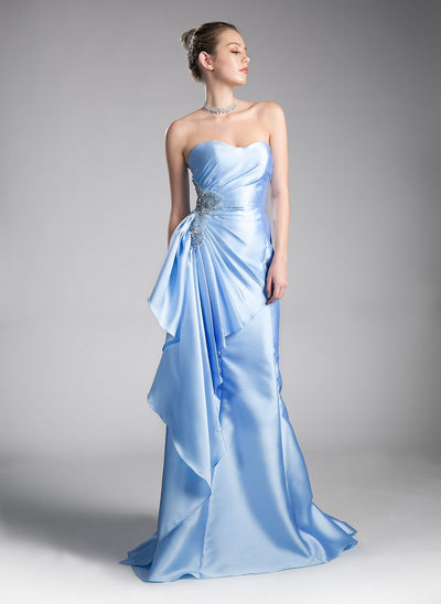 Strapless Mermaid Gown with Side Ruffles by Cinderella Divine CS0003-Long Formal Dresses-ABC Fashion