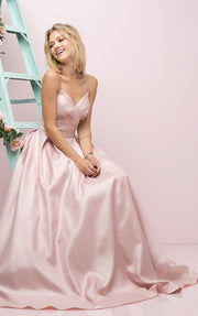 Strapless Pointed Long Sweetheart Dress by Cinderella Divine UE008-Long Formal Dresses-ABC Fashion
